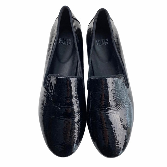 Eileen Fisher Black Patent Leather Loafers